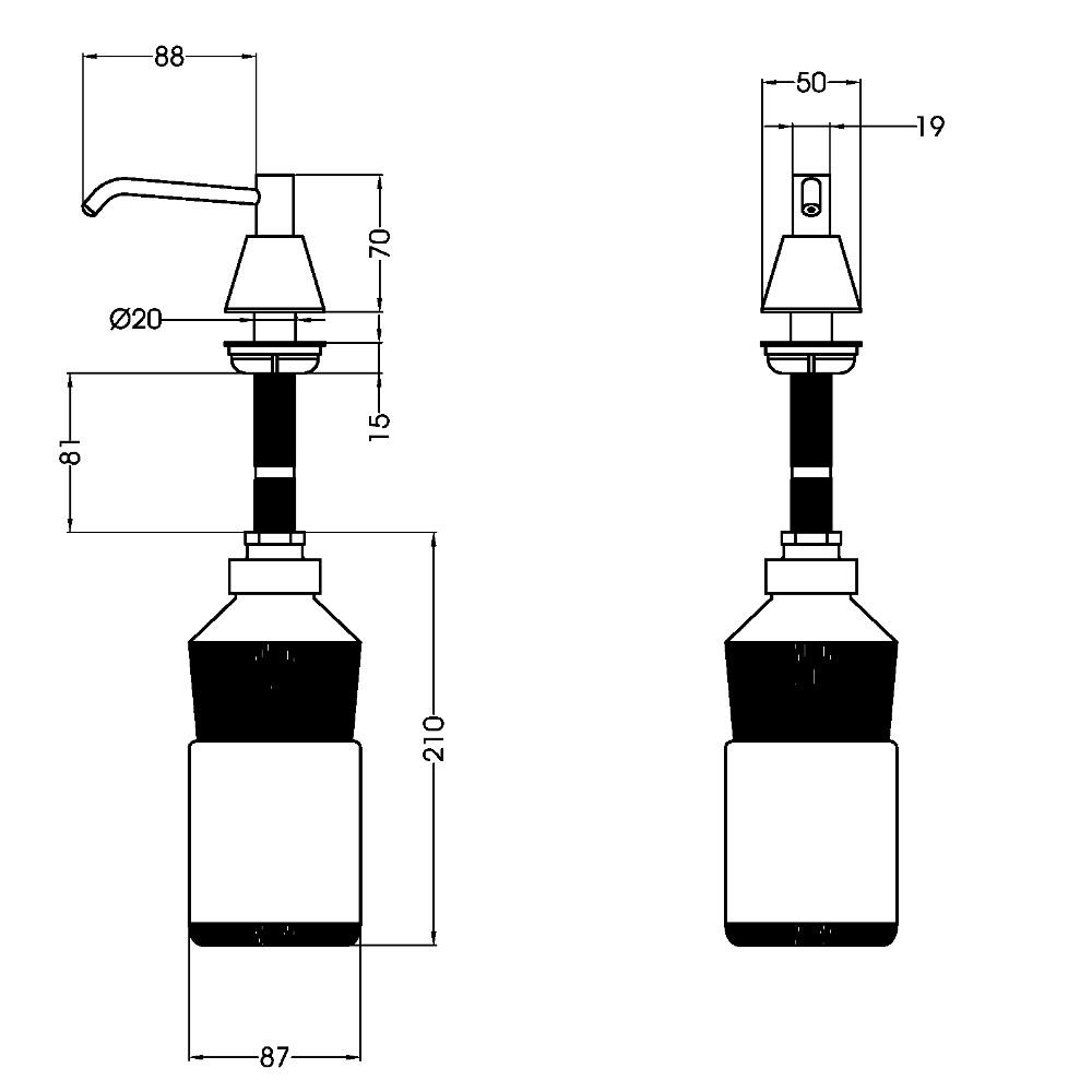Dozator sapun lichid alama cromata Mediclinics DJT118
