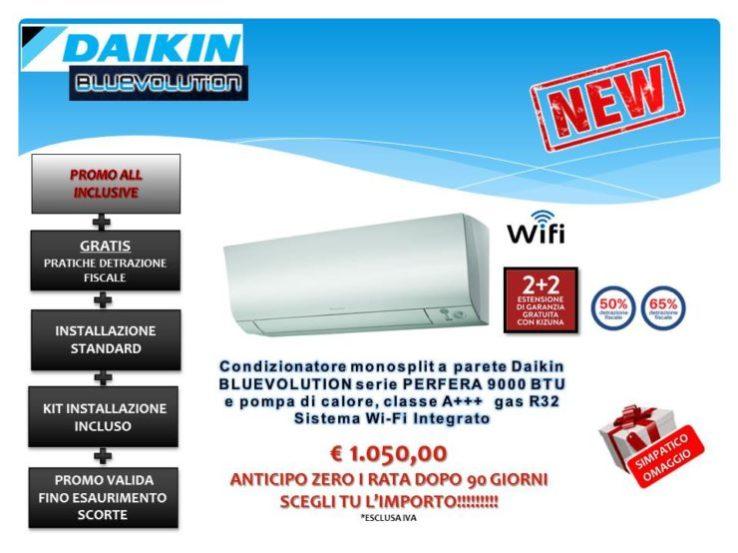 CONDIZIONATORE MONOSPLIT A PARETE 9000 BTU DAIKIN BLUEVOLUTION PERFERA R32 WI-FI SISTEM € 1.050,00 INSTALLAZIONE INCLUSA