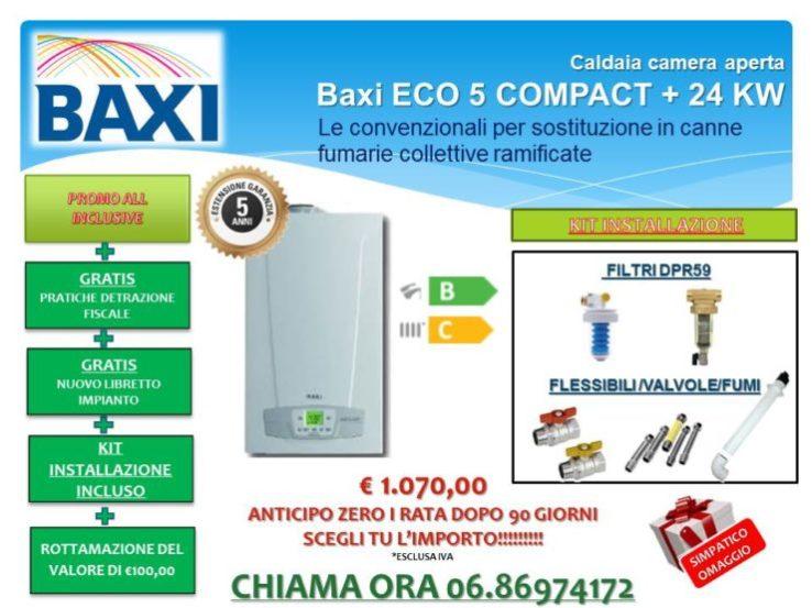CALDAIA CAMERA APERTA BAXI ECO5 COMPACT + 24 KW  € 1.070,00 INSTALLAZIONE INCLUSA