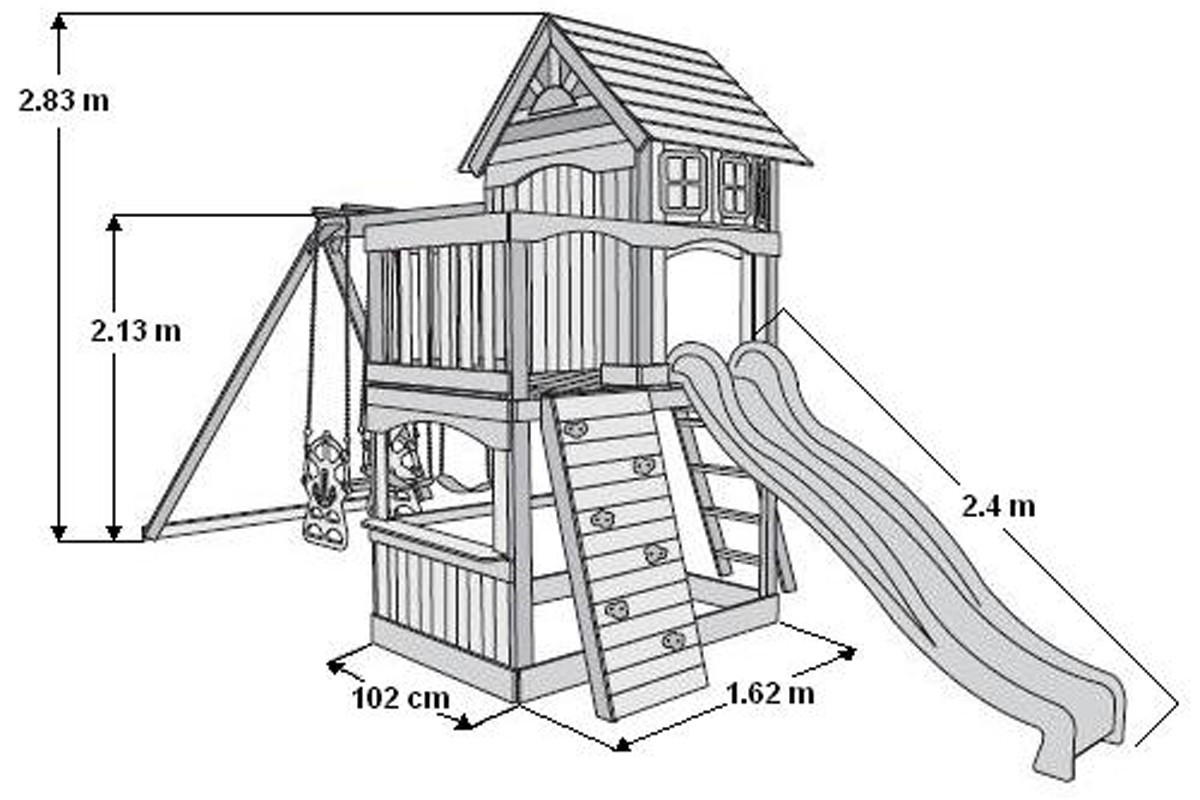 Atlantic Climbing Frame Slide With Slide, Swings and Rock Wall