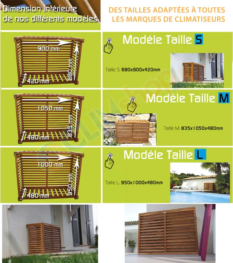 cache climatisation exterieur decoratif en bois exotique
