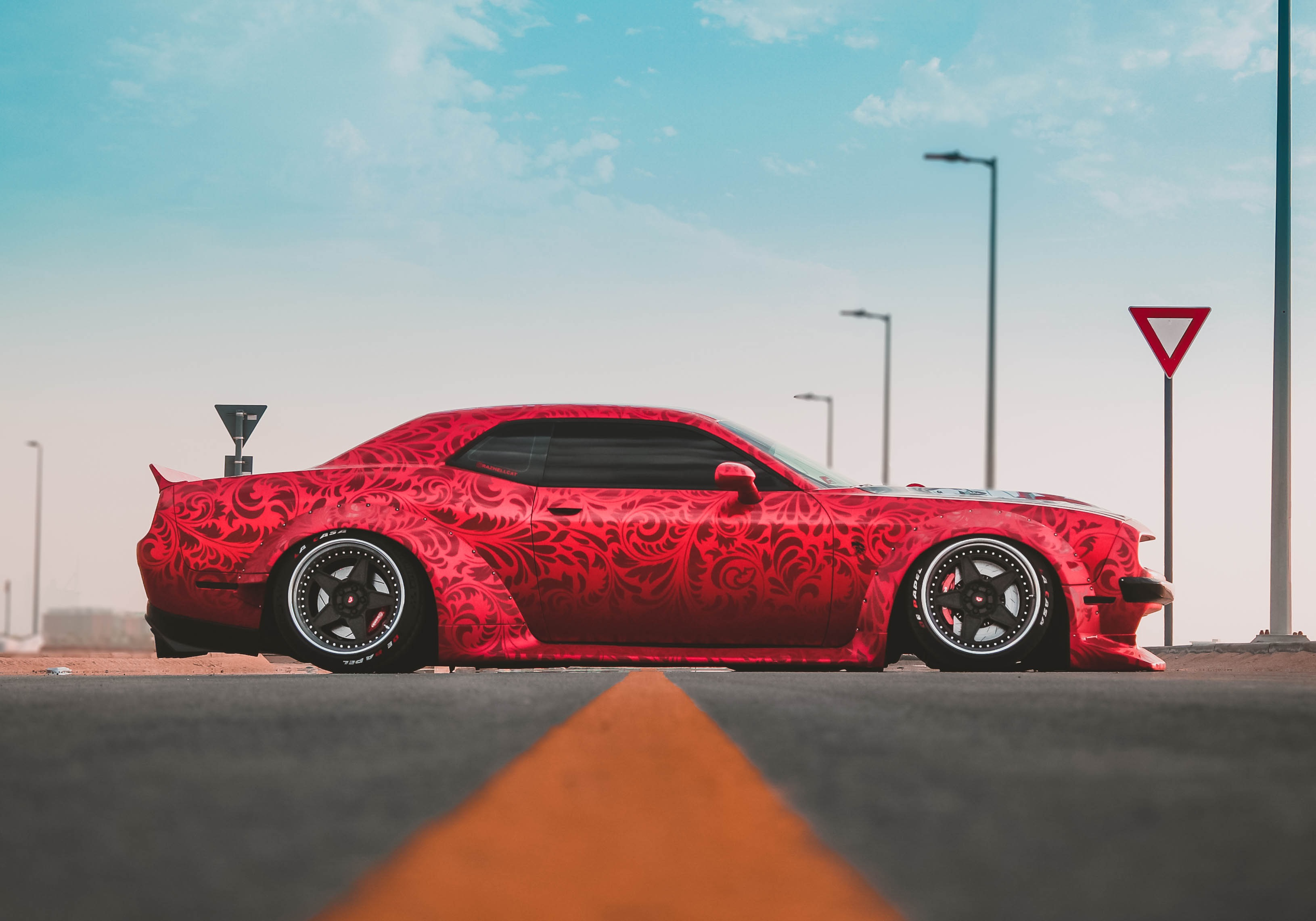 hight resolution of clinched dodge challenger