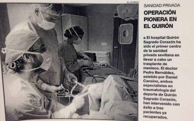 NOTA PRENSA TRANSPLANTE MENISCAL DR BERNALDEZ