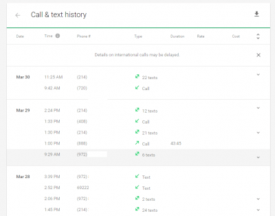 Project Fi Adds Call and Text History to Website
