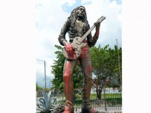Marley statue defaced!