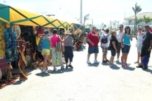 Tourists in craft market in Ocho Rios.