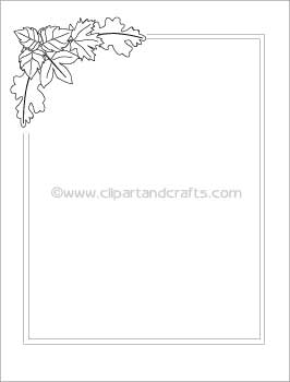 Leaves Border Paper, Black and White Template