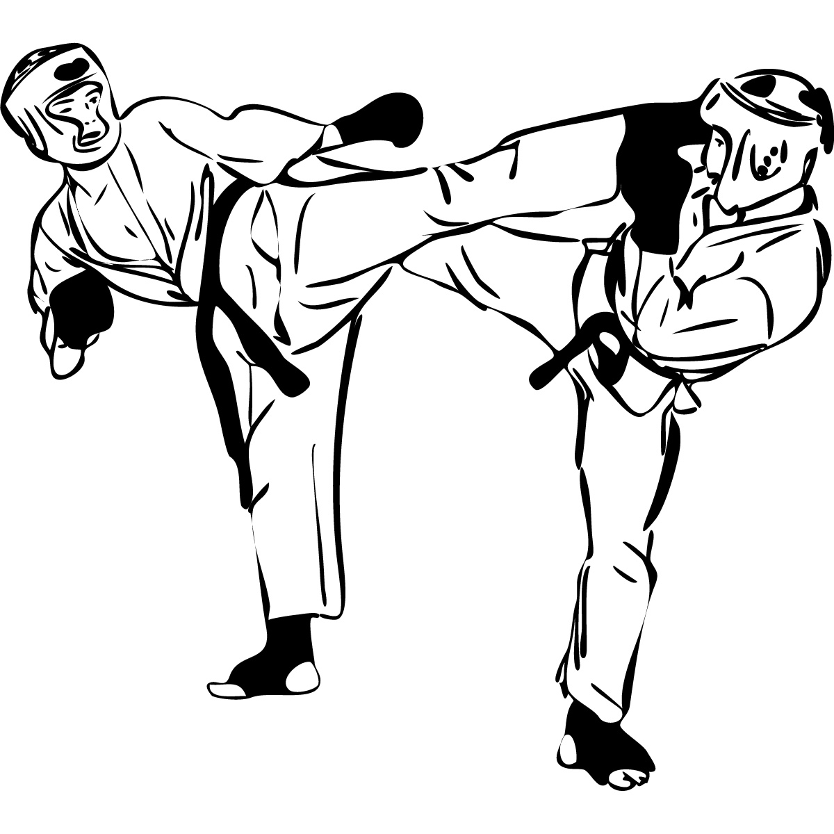 Two Karate Fighters Martial Arts Wall Art Stickers Wall