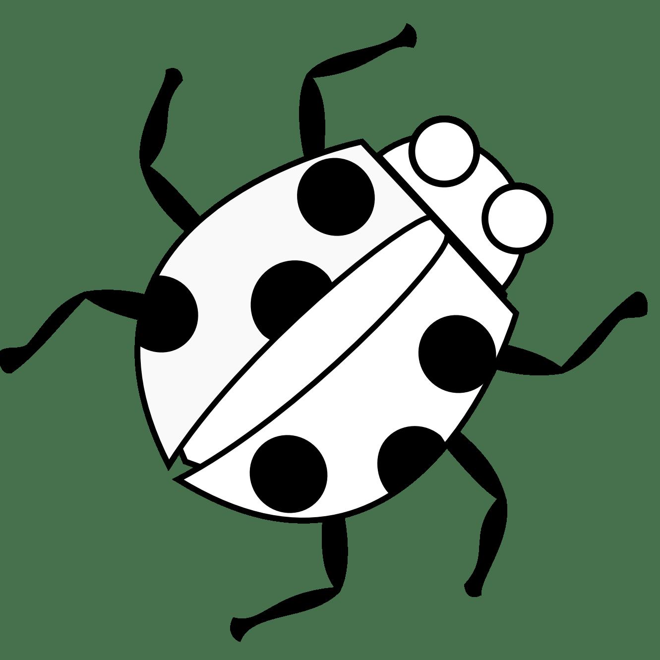 Ladybug 3 Black White Line Art Flower Scalable Vector