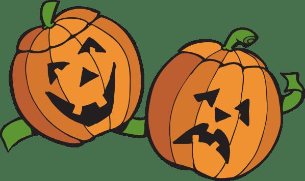 happy and sad pumpkins - clipart