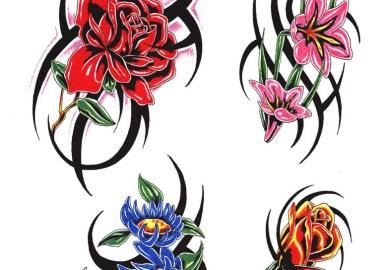 Stars And Flowers Tattoo Designs