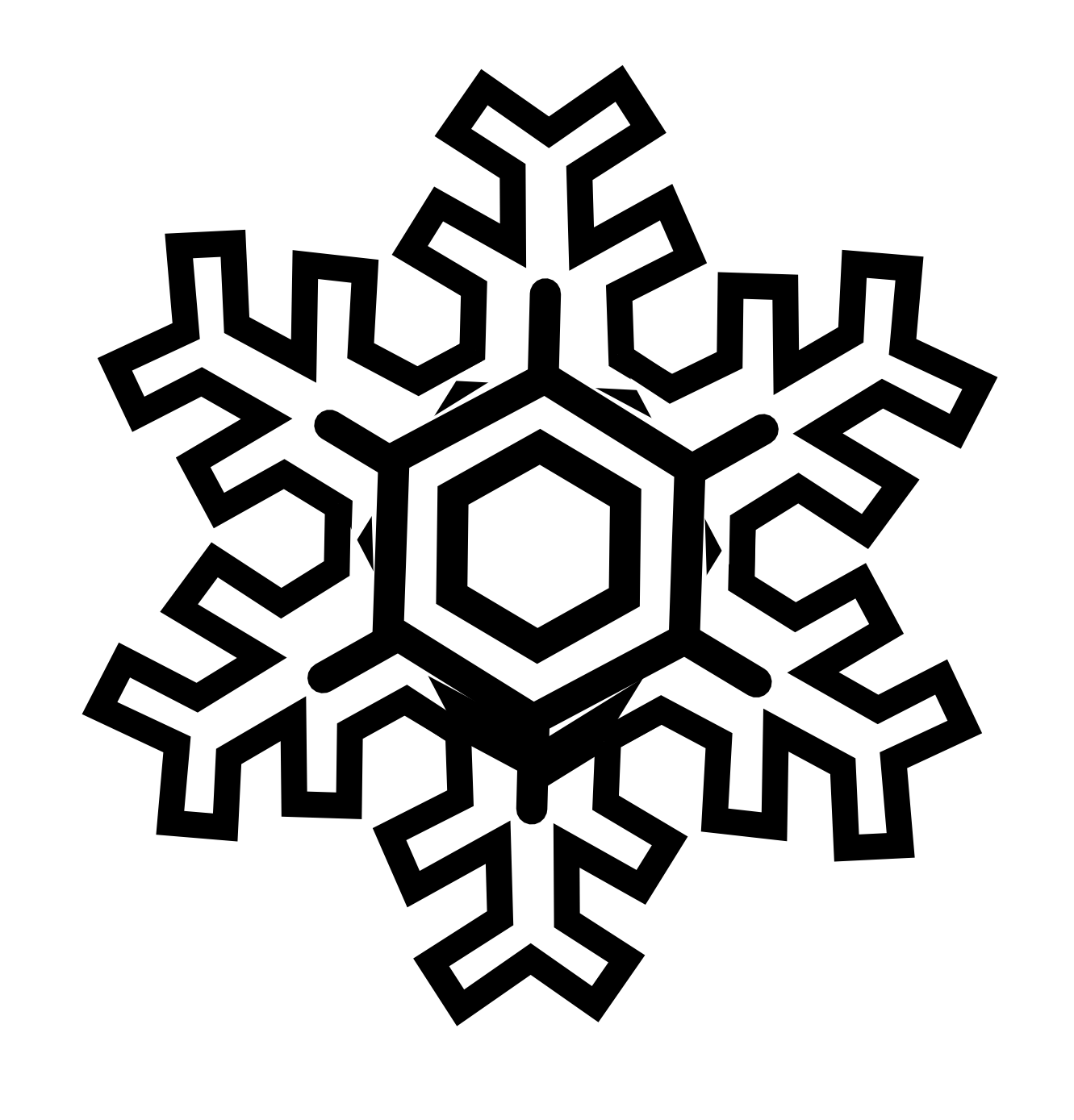 Snowflake Stylized Black White Line Art Christmas Xmas