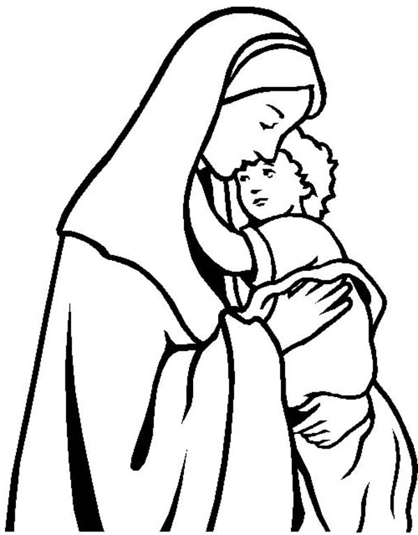 Mary Holding Baby Jesus Drawing Sketch Coloring Page