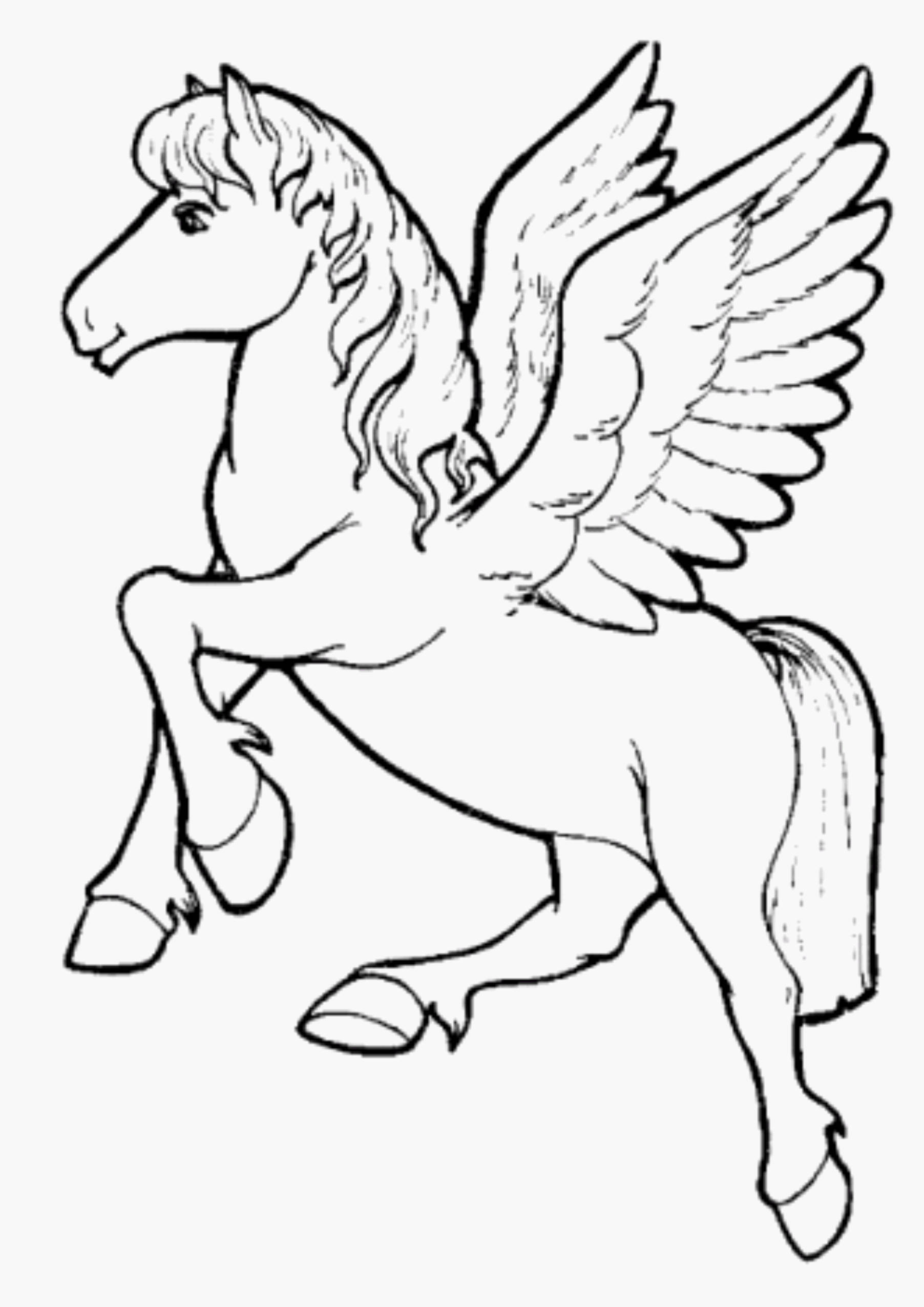 Winged Unicorn Coloring Pages