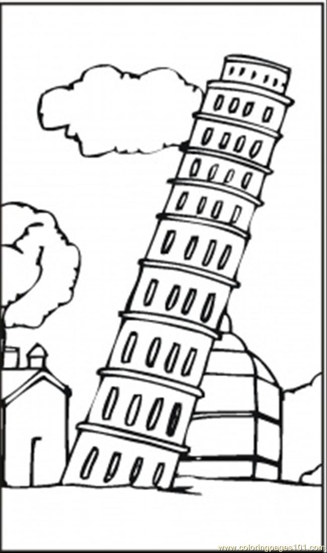 Coloring Picture Of Leaning Tower Of Pisa