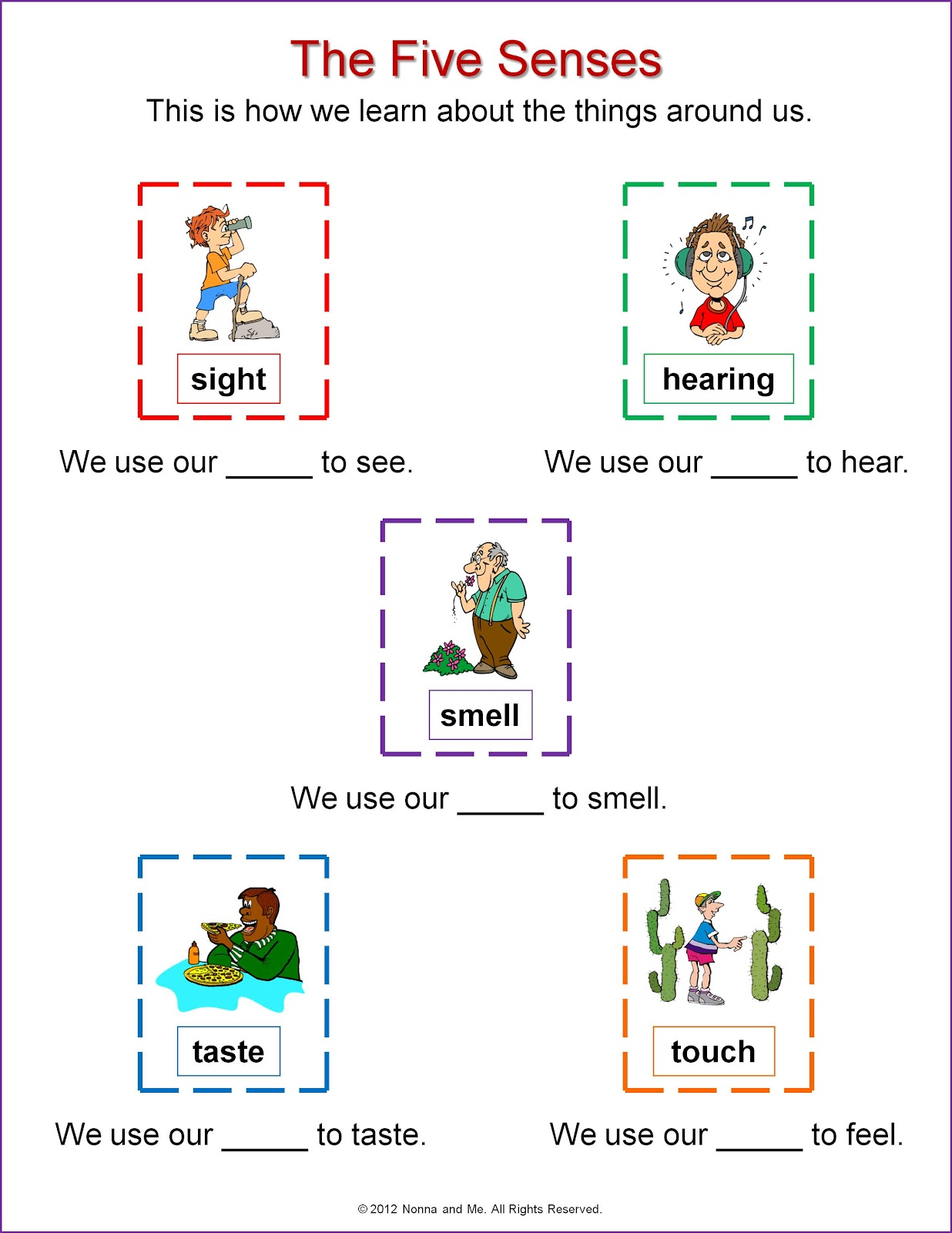 Four Things I Can Smell Worksheet