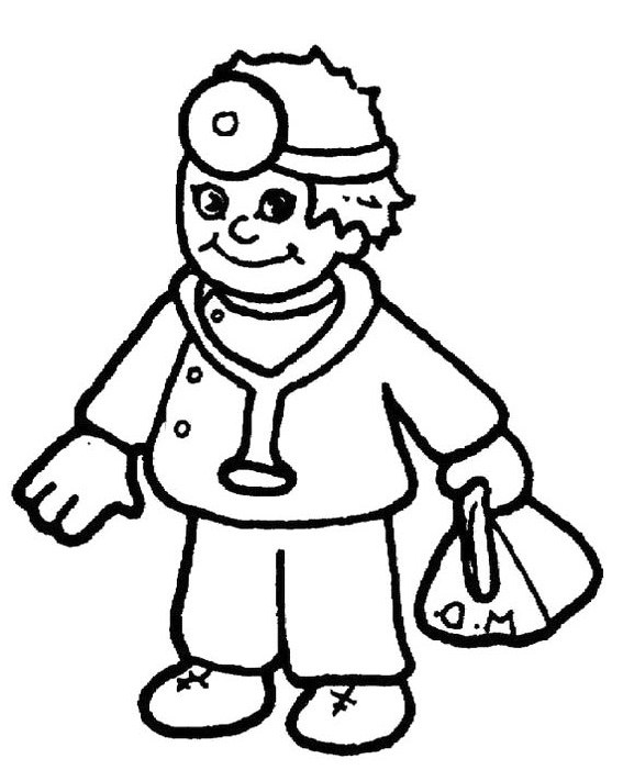 Doctor Day Coloring Pages : Doctor Carrying Equipment Bags