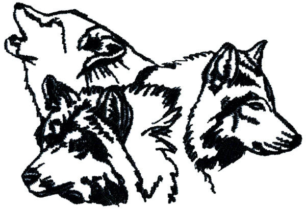Animals Embroidery Design: Wolf Pack Outline from Grand