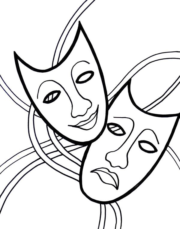 Theatre Masks Coloring Page Coloring Pages