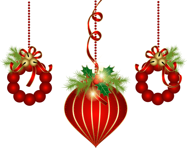 transparent red christmas ornaments