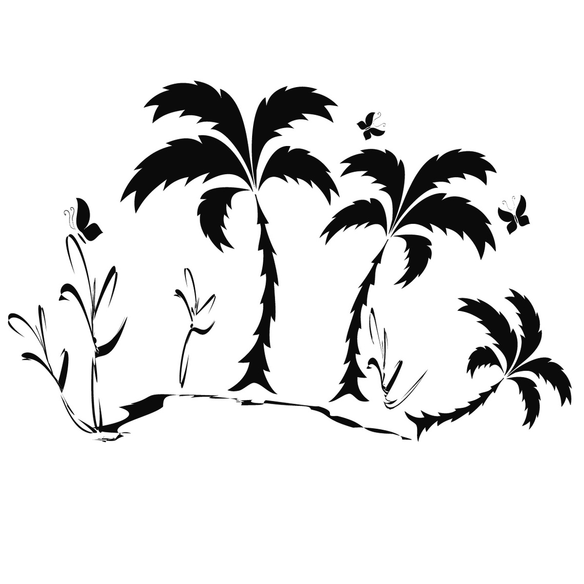 Palm Tree Line Drawing Clipart