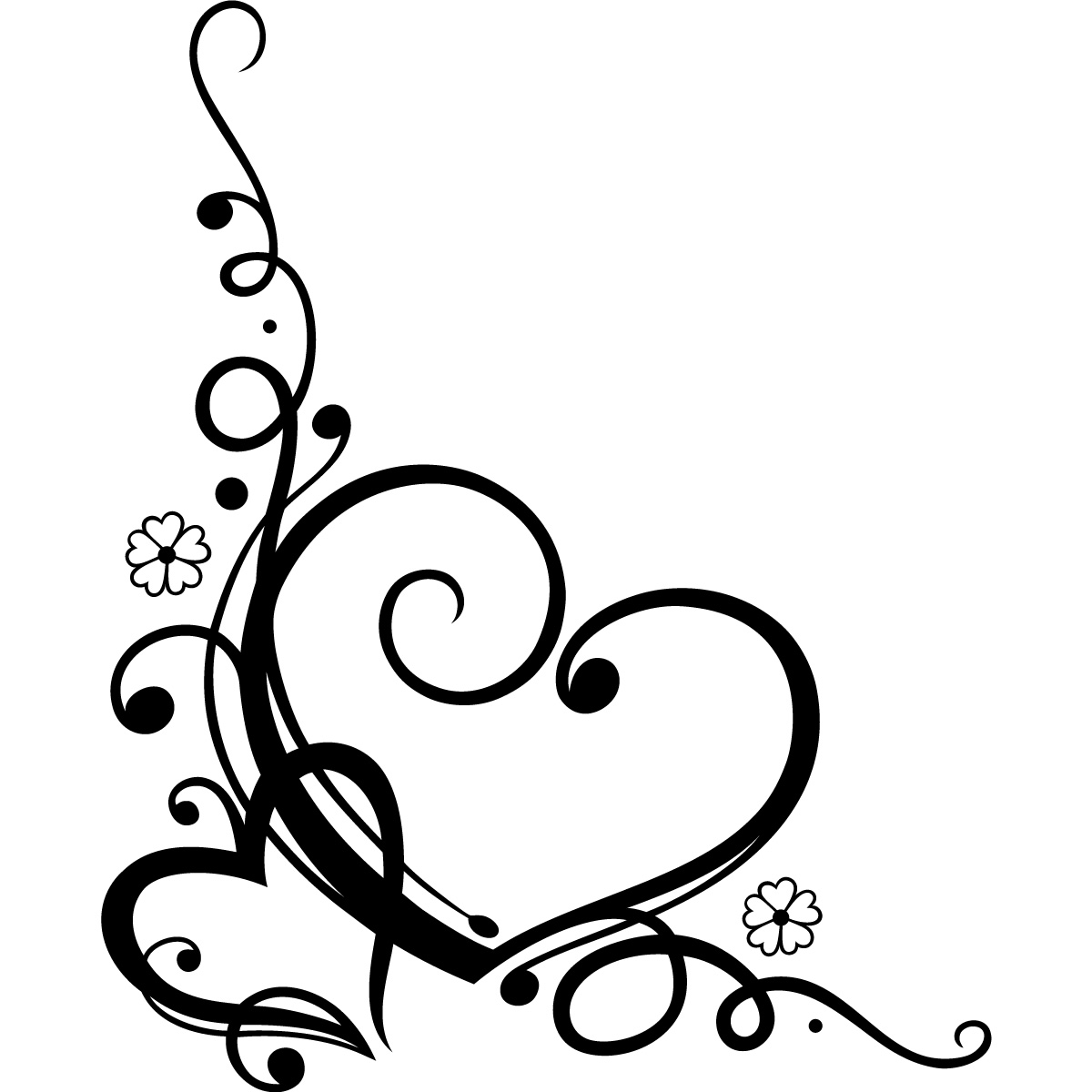 Decorative Love Heart Floral Wall Art Sticker Wall Decal