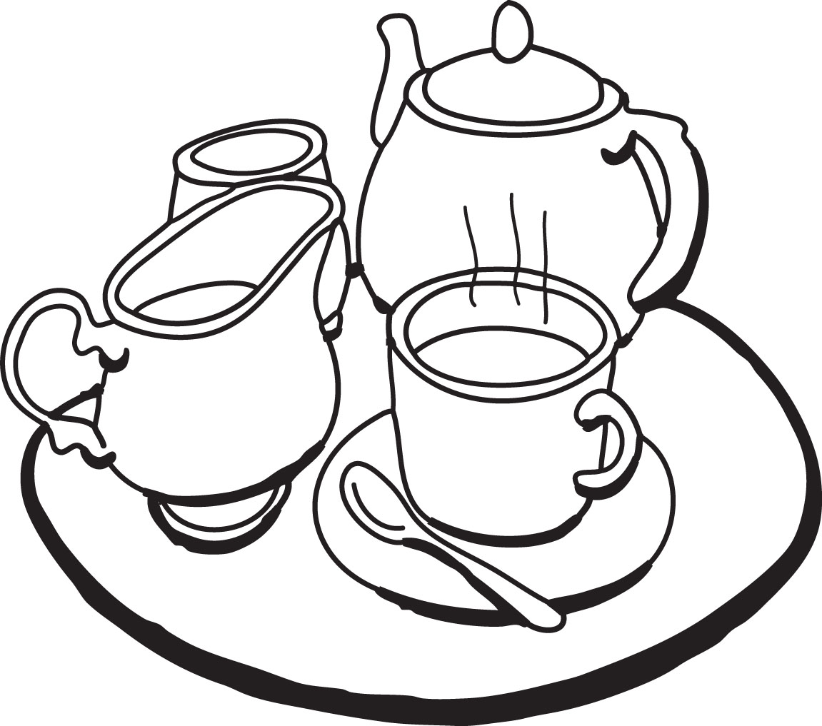 Teapot Black And White Clipart