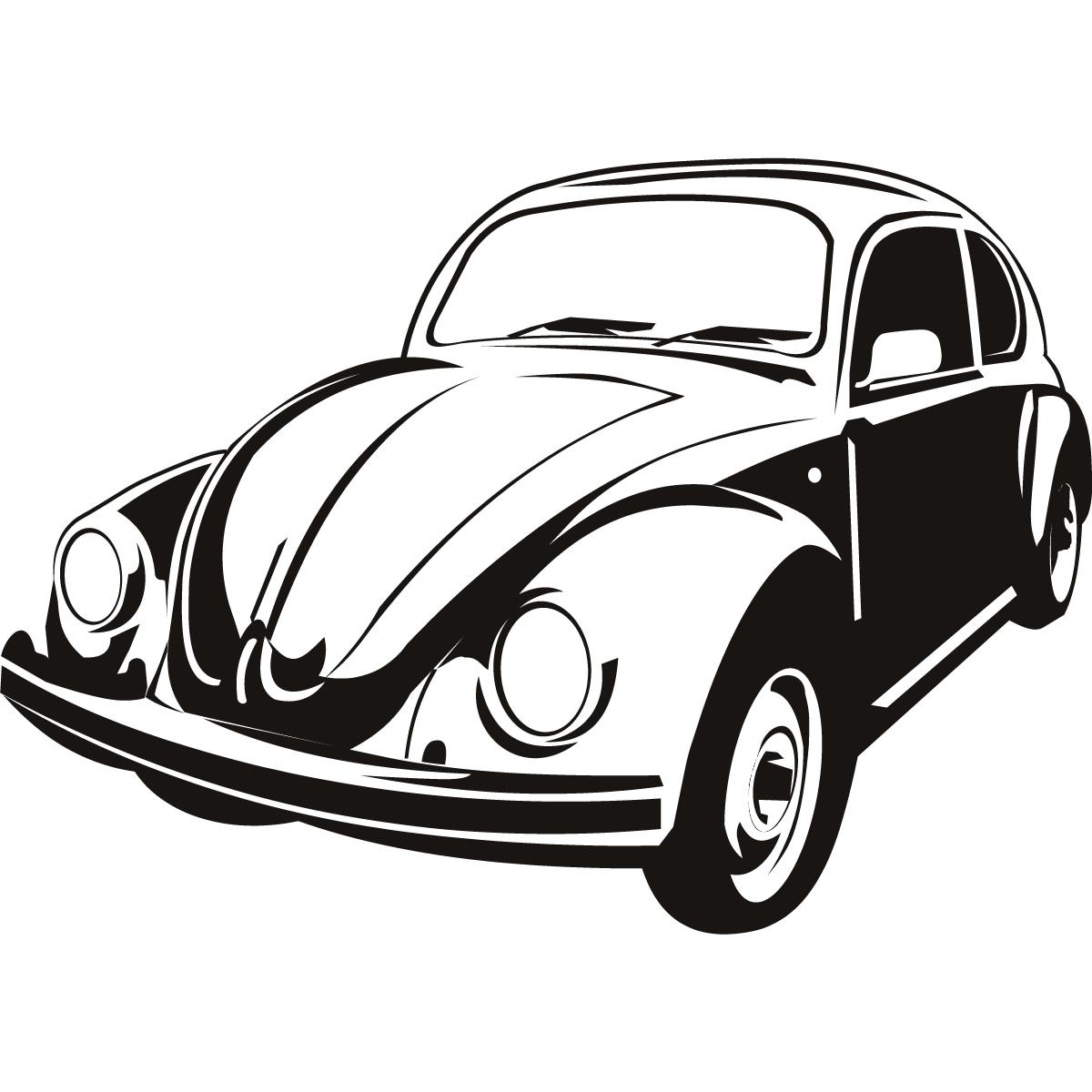 Volkswagen Beetle Line Drawing Sketch Coloring Page