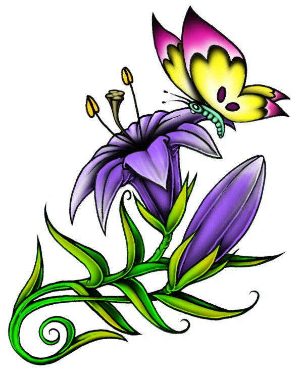 butterfly and flower - clipart