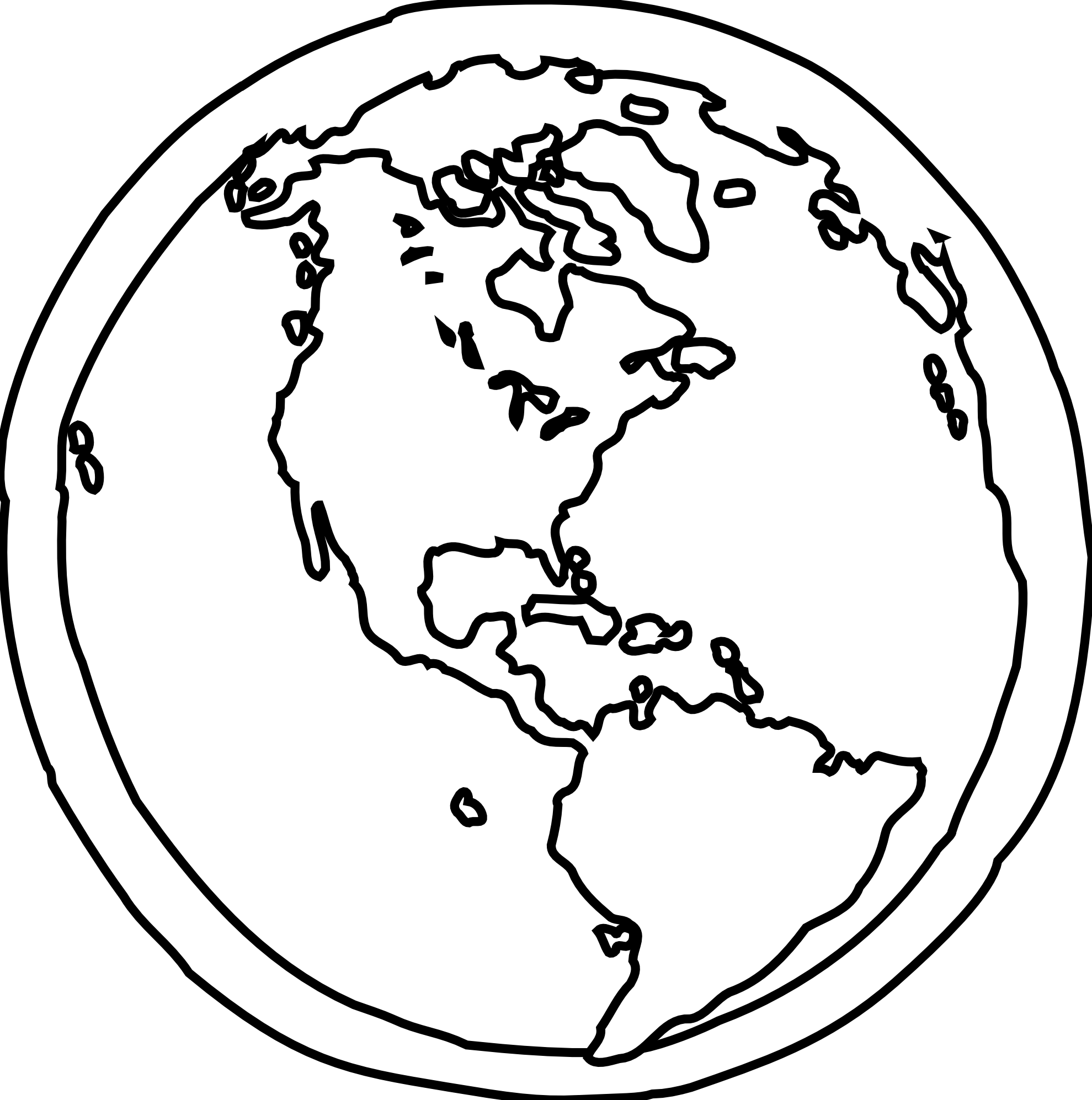 Earth Black And White Outline