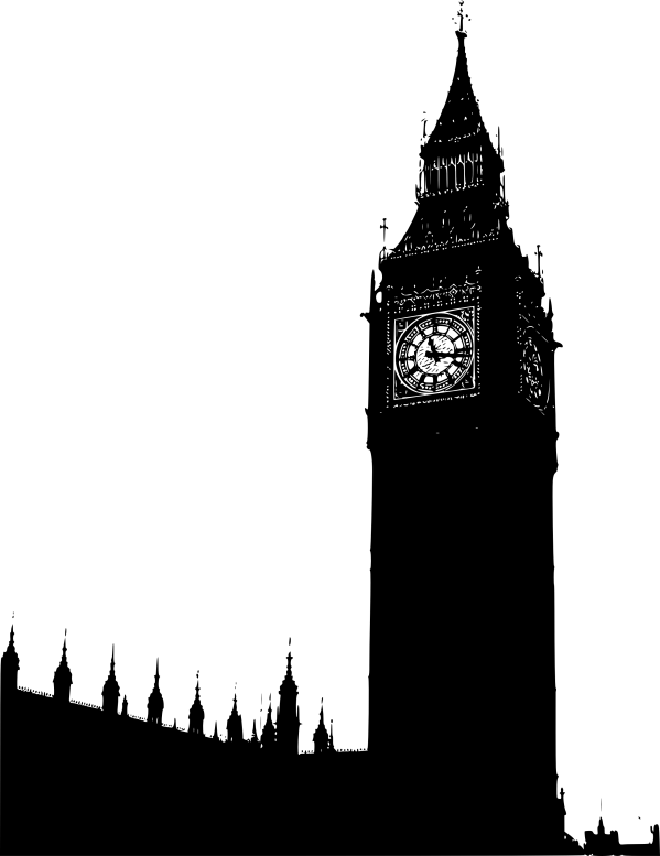 Big Ben Houses Of Parliament Black White Line Art Coloring Book . - Clipart