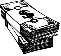 black and white of money