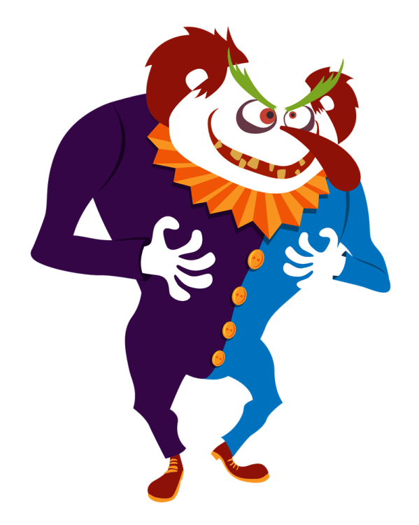 scary clown cartoon - clipart