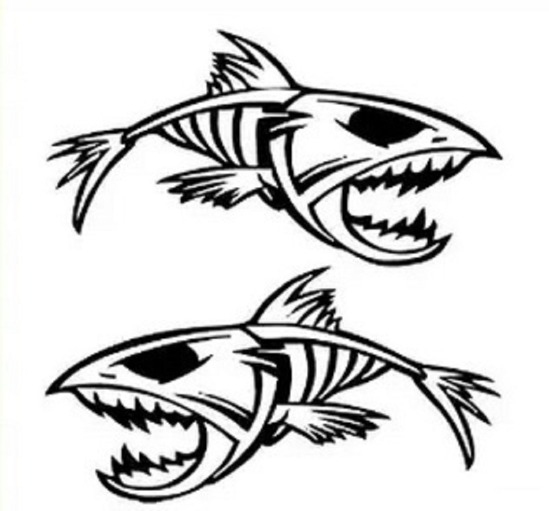 Piranha Tribal Fish Skeleton Decals And Stickers The