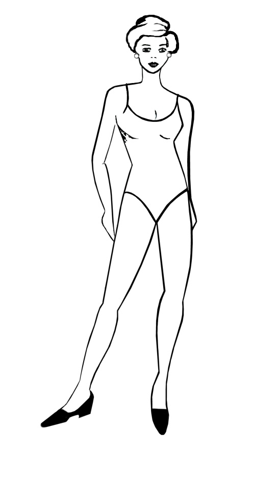 Womens Figure Drawing Template Designed For Body Tattoo