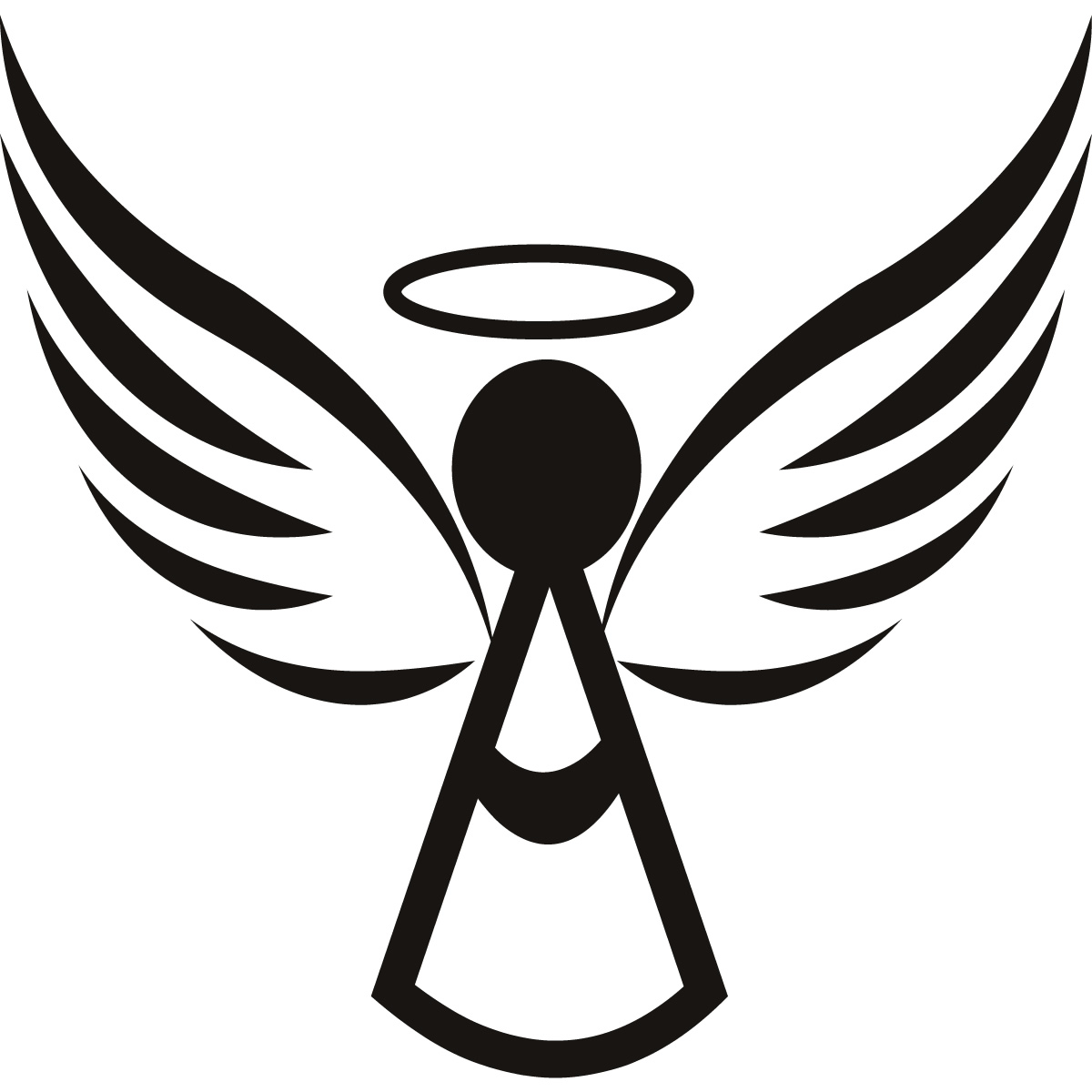 Simple Angel Clipart Black And White