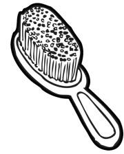 black and white hair brush clipart