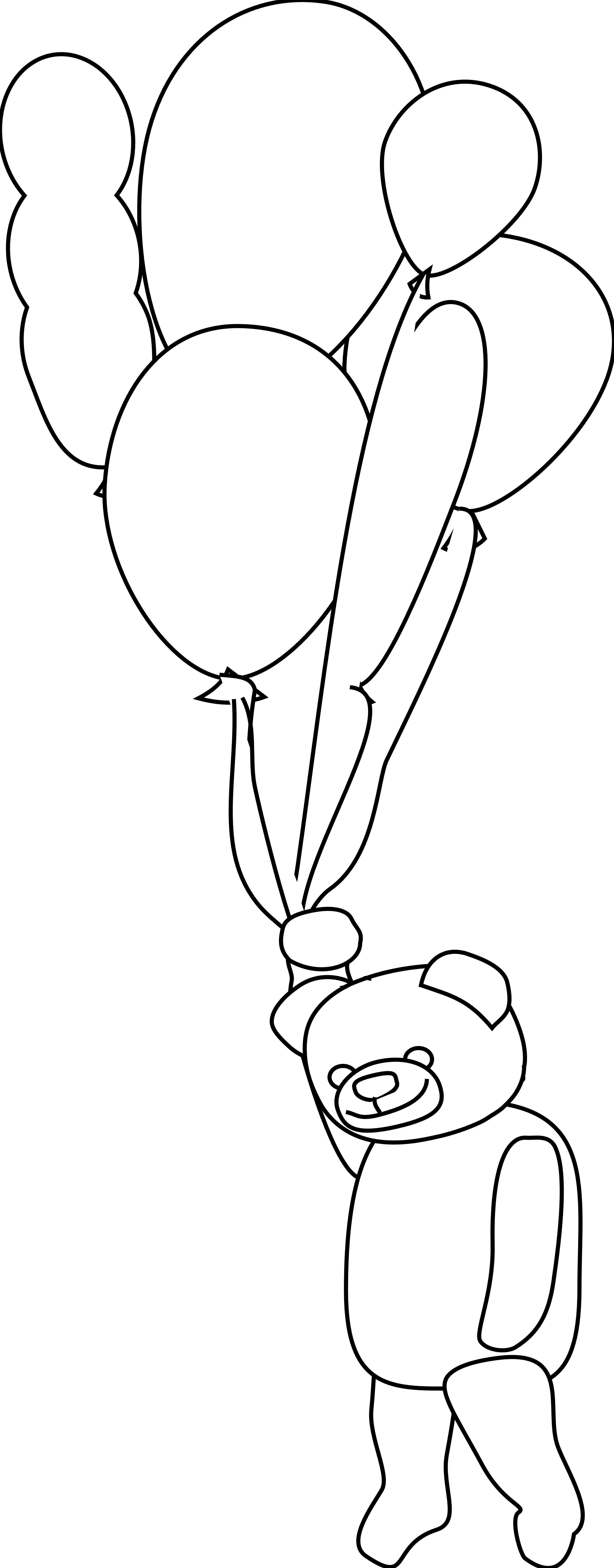 Clip Art Teddy Bear With Balloons Black White