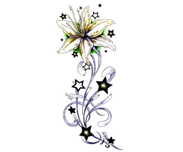 star flower tattoo - clipart