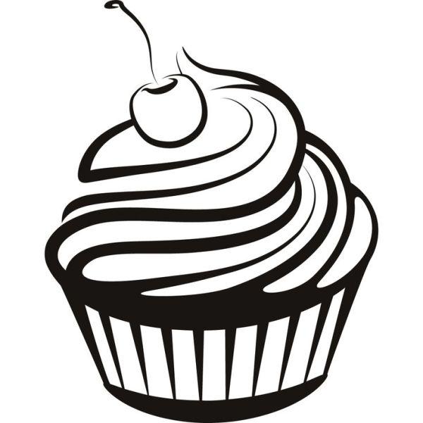 cupcake outline clip art - clipart