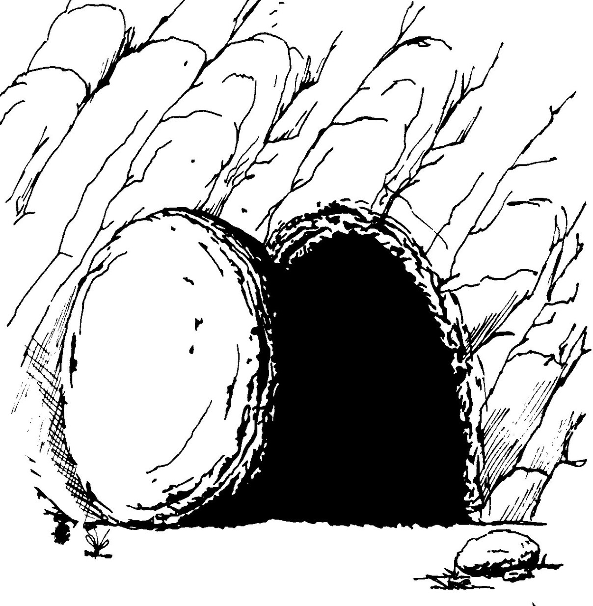 Empty Tomb Clip Art Drawing Black And White