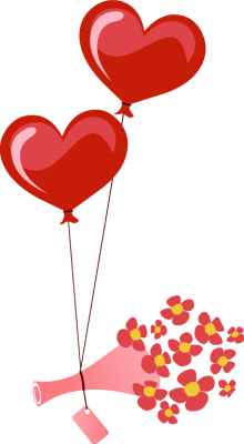 two heart balloons lifting bouquet