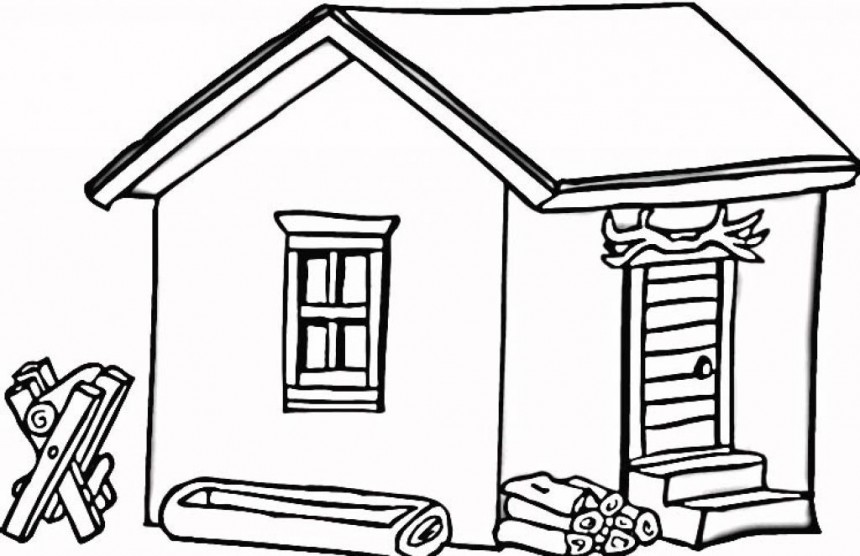Log Cabin Woods Coloring Pages