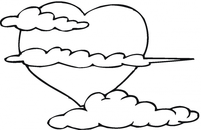 big heart in the clouds coloring page  super coloring