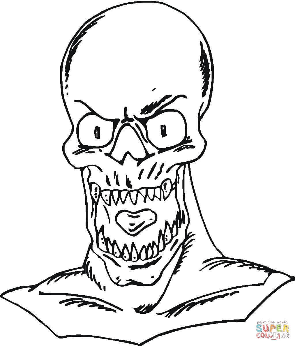 Evil Skull Smoking A Pipe Coloring Page