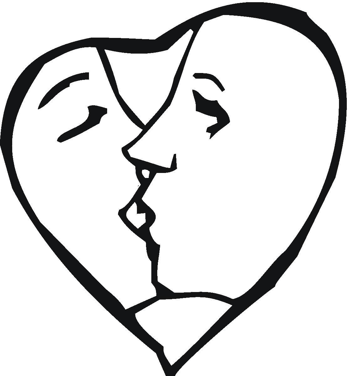 Kiss Clipart Black And White