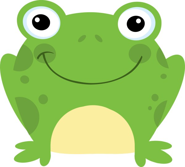 cartoon frog reading - clipart