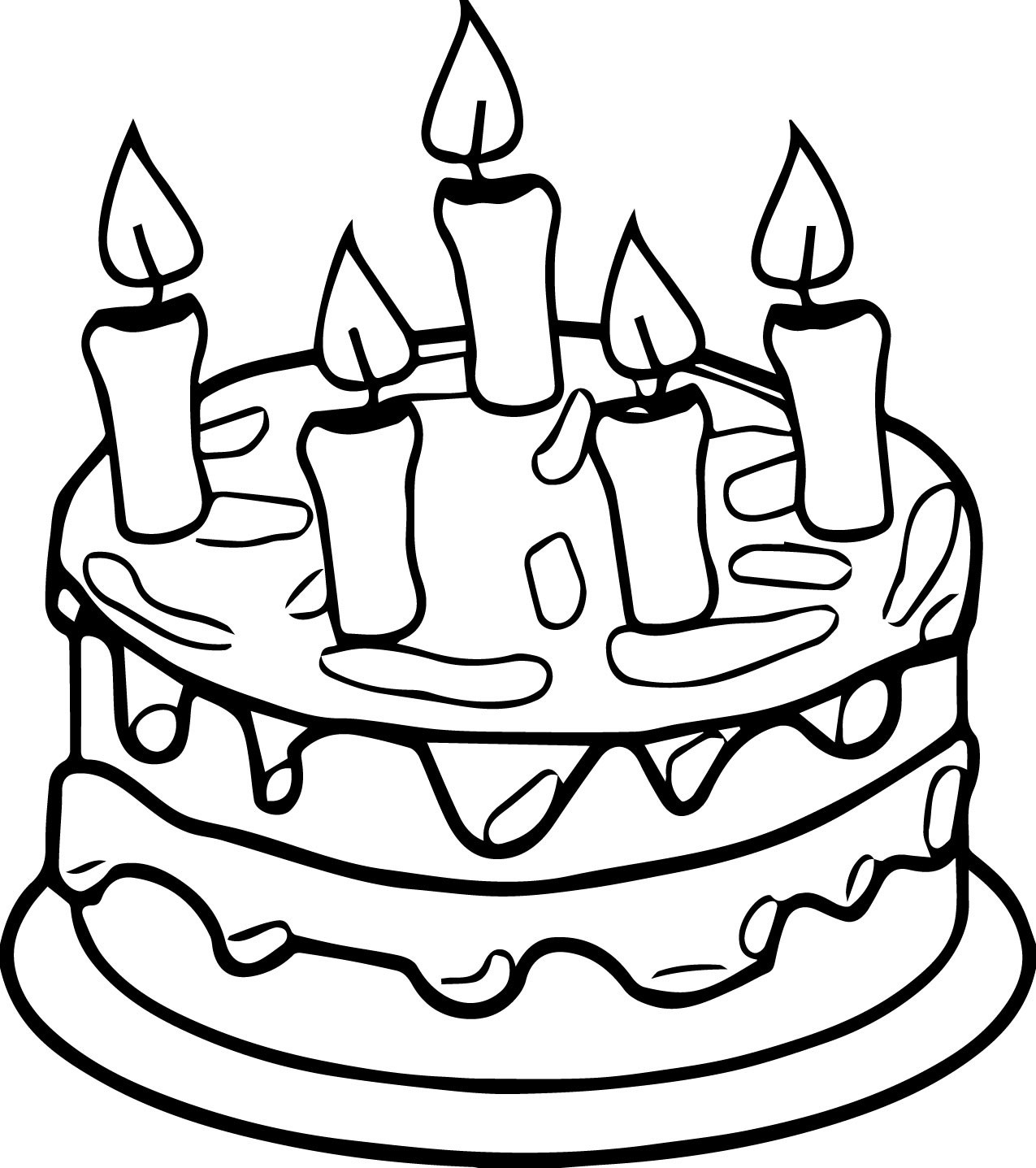 Birthday Cake Colouring Pages