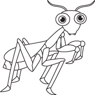 insects in black white - clipart