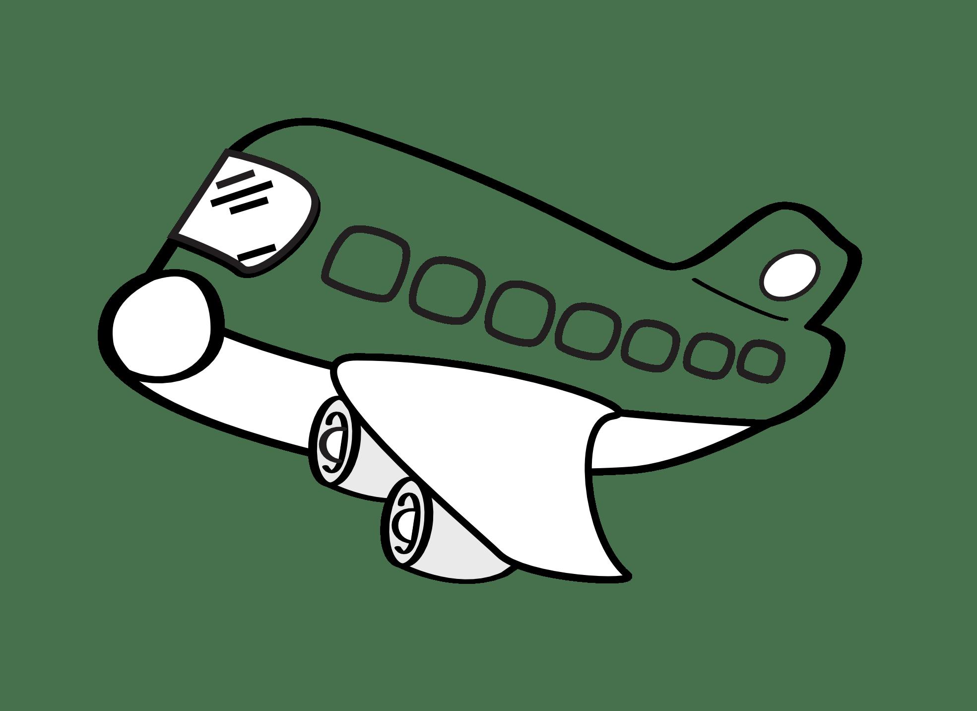 Black And White Cartoon Plane